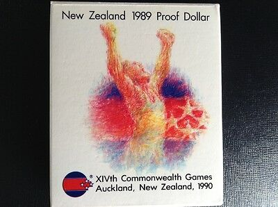 1989 New Zealand one dollar proof coin in presentation case. Commonwealth Games