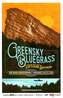 GREENSKY BLUEGRASS / Leftover Salmon 2016 Red Rocks Concert Flyer / Gig Poster
