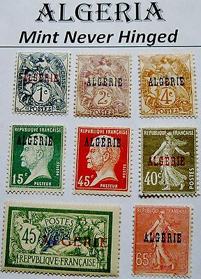 Algeria Issues of 1924 to 1925 Set of 8 MNH Scott's 1 2 4 10 19 20 21 & 24
