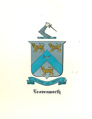 *Great Coat of Arms Leavenworth Family Crest genealogy, would look great framed!
