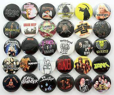 METAL AND ROCK BUTTON BADGES 30 x Assorted Heavy Metal Hard Rock * NEW DESIGNS *