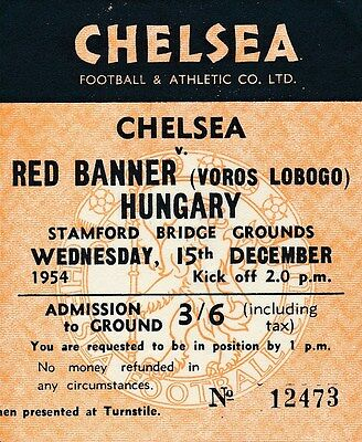 TICKET: Chelsea v Red Banner Hungary (Friendly) 1954
