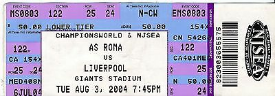 TICKET: Liverpool v Roma (Friendly in New York) 2004