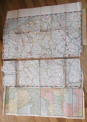World War One Original War Map Of Liberty The Western Front 1918 Red White Blue