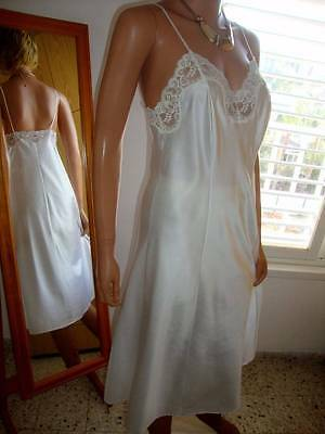 Vtg St Michael White Shiny Satin & Lace Full Slip Petticoat 12 (EU 40)