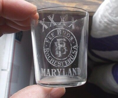 Fee Bros Rochester Xxxx Maryland Etched Pre Pro Whiskey Advertising Shot Glass