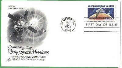 Us Fdc 1978 Viking Missions To Mars 15 Cent#1759 First Day Of Issue Space Cover