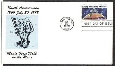 Us Fdc 9Th Anniversary Moon Walk 1978 Viking Mission To Mars 15C First Day Cover