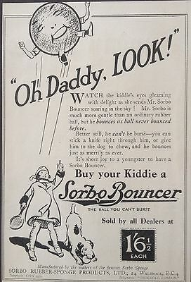 Vintage Uk 1921 Ad(Uk1)~Sorbo Bouncer Rubber Ball. The Ball That Cant Burst
