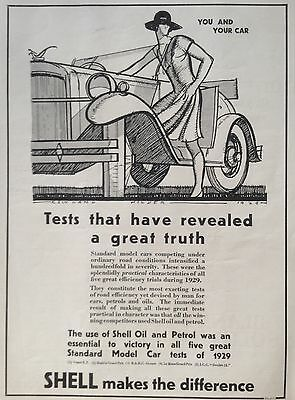 Vintage Uk 1929 Ad(Uk1)~Shell Motor Oil And Petrol For All Standard Cars