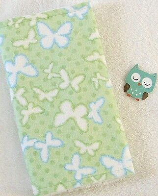 Handcrafted, Flannel Green Butterfly Print & White Minky Bubble Baby Burp Cloth