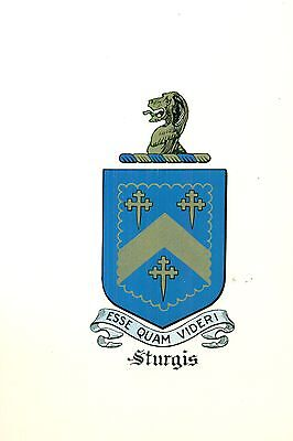 *Great Coat of Arms Sturgis Family Crest genealogy, would look great framed!