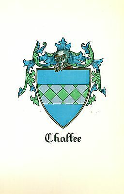 *Great Coat of Arms Chaffee #1 Family Crest genealogy, would look great framed!