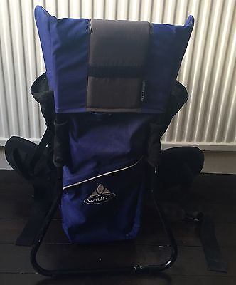 Vaude Tergoform Comfort Child Baby Carrier Backpack Used Blue With Sun Shade
