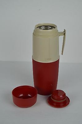 Thermos Wide Mouth 6402 Red Beige Color 1 Qt Glass Insert Norwich USA Vintage