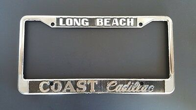 long beach coast cadillac vintage license plate frame