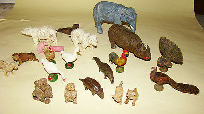 21 early composition Farm & Zoo animals by Elastolin & others