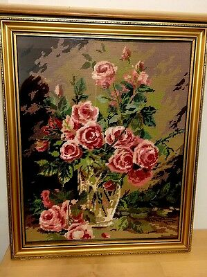 Vintage Large Floral Completed Tapestry Needlepoint Framed Picture