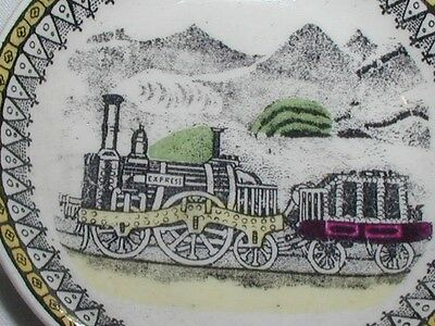 Vintage Antique Ceramic Miniature Plate With Early Steam Train Print Pattern