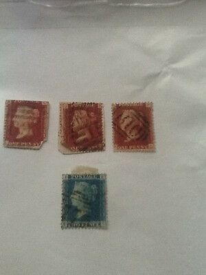 Gb Penny Reds ( 3 ) Stamps + Gb Penny Blue ( 1 ) Gb Victorian Stamps-Used