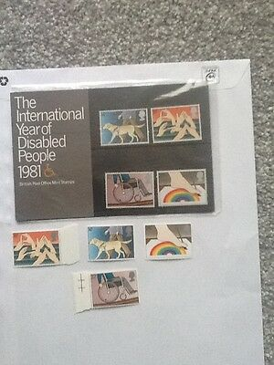 Royal Mail Mint Stamps_Year Of Disabled People_ 1981 + Extra Mint Stamps_