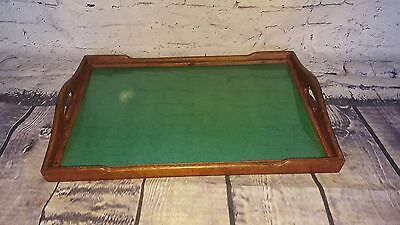 Vintage Antique Wooden Glass Servants Butlers Serving Tray Coffee Kitchen Displa