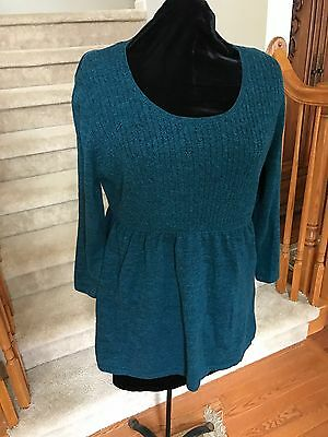 Oh Baby by Motherhood Maternity turquoise/black Sweater 3/4 sleeve Size XL