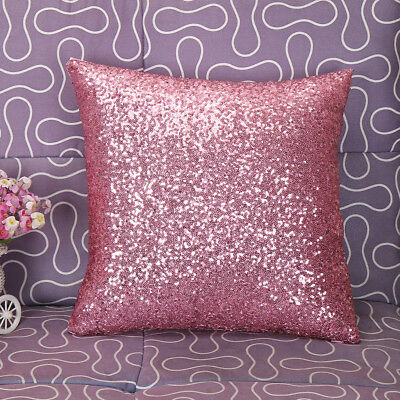 """2PCS Mermaid Fish Scale Sequins Cushion Covers Pink Throw Pillow Cover 16""""x16"""""""
