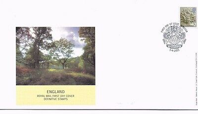 2005 Royal Mail FDC - England 42p Regional Definitive Stamp -issued 5 April 2005