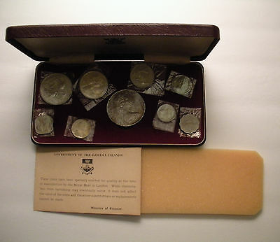 1966 Bahamas Proof 9-Coin Set includes 2.8723 oz. Silver Coins Case Royal Mint