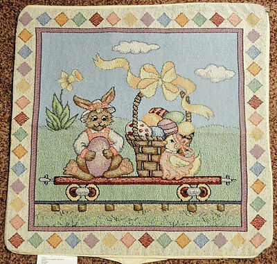 All Aboard ~ Easter Train Tapestry Pillow Shell
