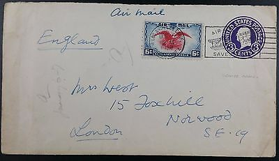 1938 USA Air Mail Uprated Stationery Cover Los Angeles to Norwood, Pictorial PMK