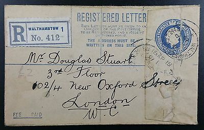 GB 1919 5 1/2d Registered Cover, Walthamstow Hoe St PMK to New Oxford St, London
