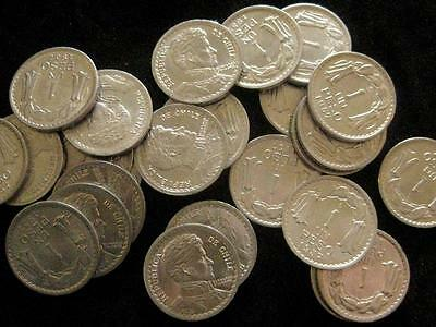 Chile  lot 25 coins  Peso  1957 BU