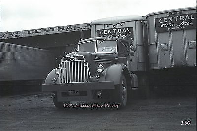 Original 1949 B&W truck photo negative MAC with Central Motor Lines trailer 150
