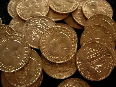 Great Britain 1/2 Penny 1960 lot of 25 RED BU clipper ship