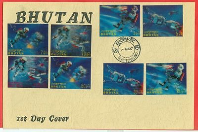 Bhutan Topic Space Moon Landing 3-D Stamp set on FDC Cover