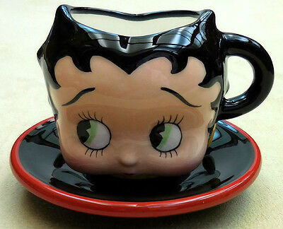 Betty Boop Small Sculpted Face Teacup And Saucer From Vandor Company, Item 10121