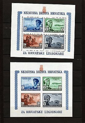 CROATIA 1943 Armed Services miniature sheets Perf + Imperf both MNH as scan
