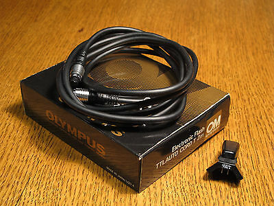 Genuine Olympus OM Electronic Flash TTL Auto Cord T 2m & Type 4 Connector.
