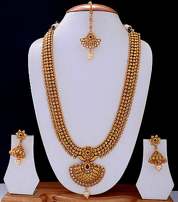 Indian Ethnic Jewelry Polki Long Necklace Traditional Gold Plated Earrings Set