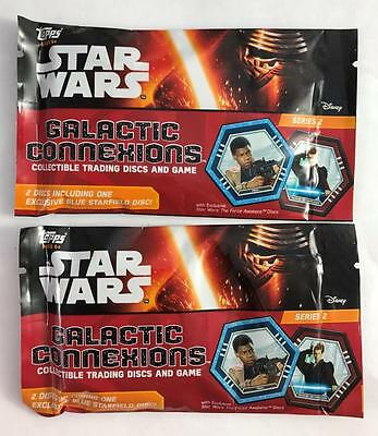 NEW 2 Sealed Packages Topps Star Wars Galactic Connexions Series 2 Discs Blue