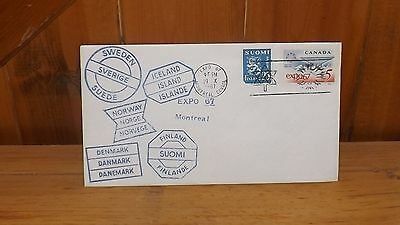 Vintage Envelope Finland Stamp & Expo 67 Stamp Montreal Canada 1967 Post Marked