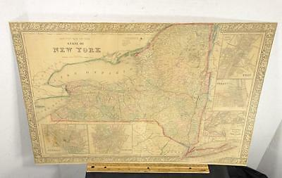 Original 1866 County Map Of The State Of New York Civil War Era Gamble Mitchell
