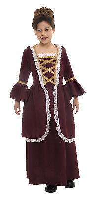 Colonial Child Girls Costume Long Reddish Brown  Fancy Dress Underwraps