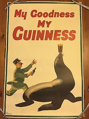 GUINNESS Original Print Poster Gilroy 1935 My Goodness My Guinness Seal