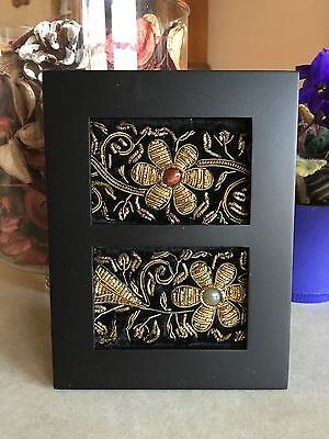 Pair of Vintage India Zari Beaded Embroidered Silk Velvet ACEOs in Wooden Frame
