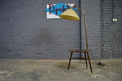 Vintage Retro Mid Century Atomic Two Tier Table with Lamp Brass Detail