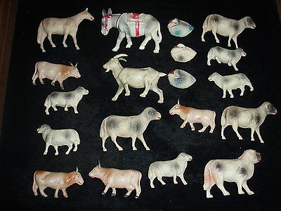 Large Lot of Celluloid Farm Animal Figures / Toys