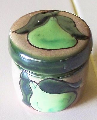 New Mexican Clay Pottery Hand Painted Pear Round Trinket Box / Candle Holder